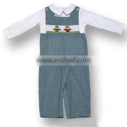 Baby Boy Green Gingham Smocked Scarecrow Longall