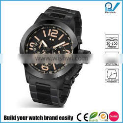 Masculine look PVD black titanium coated case 10ATM water resistant stainless steel chronograph watch
