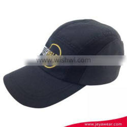 unstructured baseball cap 100% polyester breathable black running cap