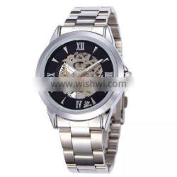 fashion men's silver stainless steel automatic self wind watch mechanical male clock