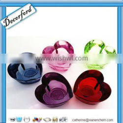 HOT heart shape colored glass candle holders