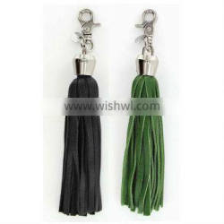 Leather Tassel keychain with hook for bag