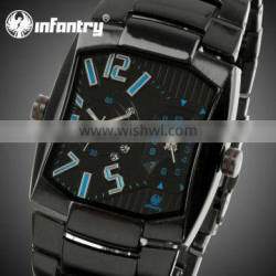 INFANTRY Fashion Japanese Quartz MEN Black Stainless Date Casual Watch