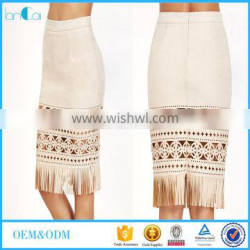 Women pencil skirt latest new fashion bodycon digital printing hollow out skirt with fringe hem