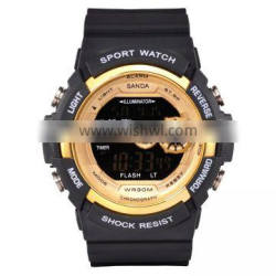 2016 Wholesale Outdoor Sport Chronograph And Rubber Material Digital Black Watch For Men Watch Sport
