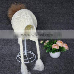 Custom wholesale slouch raccoon fur pompom knit baby beanie hat toddler hat