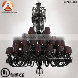 48 Light Big Baccarat Chandelier with Black Crystal & Lampshade