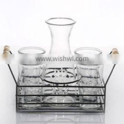 Unique Design Cock Embossed Transparent Glass Milk Bottle With Iron Stand With Cup