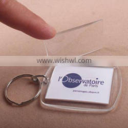 Advertising plastic cheap promotion gift acrylic photo frame keychain for promotion