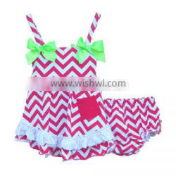 red and white wave stripe outfits baby girls romper sets sleeveless summer bow clothes