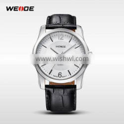 WEIDE genuine leather men high quality time watches