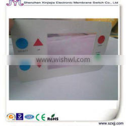 glossy touch PET panel label with LCD screen transparent window and buttons