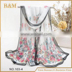 New arrival attractive style print 100% silk scarf with workable price