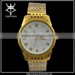 Promotional Gold Stainless Steel Strap MEN Watches Fancy Watch Man With Shelled Face