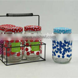 Set of 4 Clear Glass Mason Jars with metal straw lid and metal basket wholesale