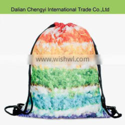 wholesale promotional 3D printed polyester shoes drawstring backpack