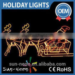 2d Beautiful Santa Claus Sitting on a Reindeer Carriage Led Rope Light Motif