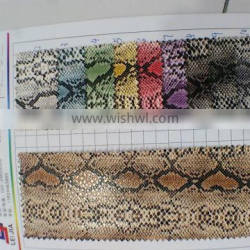 pu pvc leather stocklot for car seat snakeskin grain printed pattern varnished or patent leahter top grade synthetic leather