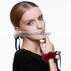 New Designs Fancy Hot Sale Cute Mink Fur Elastic Hair Band with Silk Ribbons and Pearl Ball for Fashion Girls