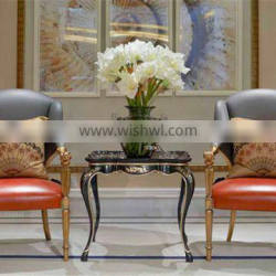 Retro Vintage French Louis Style Golden Framed Solid Wood Armchair with Leather Upholstery BF12-05274b