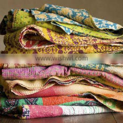 Indian Bohemian Vintage Kantha Quilt Sari blankets and throws at amazing wholesale discounted price