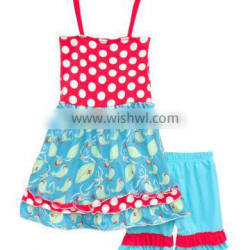New arrival wholesale girls clothing fashion sleeveless boutique outfits for girls