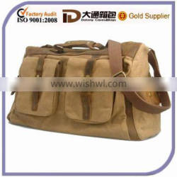 Canvas Leather Duffle Gym Bag Overnight Travel Luggage Tote Bag