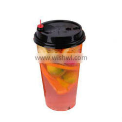 PET disposable high transparent injection cup for freshly squeezed juice and cold drink with hard plastic material and 90 calibe