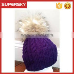 A-533 cabled knitting beanie with fur pom raccoon fur pom cable knit beanie fur pom pom ribbed beanie