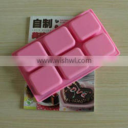 Wholesale food grade 6 cavity 7x6x2.5cm nonstick rectangle silicone soap moulds for handmade