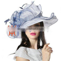 2015 New Design Embroidered Organza Women Hat With Elegant Feather