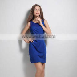 HP680023 hot selling discount indian sleeveless knee-length blue pleated latest form dress pattern