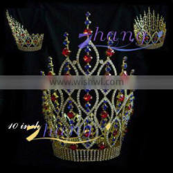 fashion colored rhinestone round pageant crown