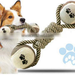 pet rope toy with tennis ball