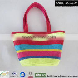 100%Paper Bag (Straw Bag)With Striped Pattern Multicolor Small Size