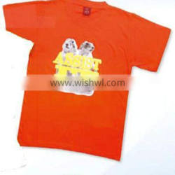 T-shirt with puff and offset printing