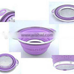 Collapsible Stainless Steel Colander Silicone Colander