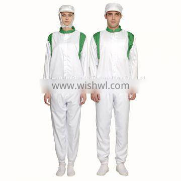 White Unisex 100%Polyester Food Processing Uniform for Food Factory