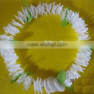 promotion hawaii lei necklace with white color and leaf