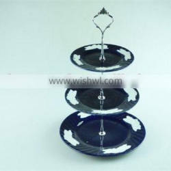 3 tier cheap glazed ceramic cake plate stand for weeding/party use in stock