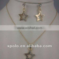 Fashion Charm jewellry Gold Plated Star Stud Earring And Necklace Set