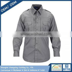 Breathable Ripstop Fabric Tactical Combat Shirt with Hidden Collar Stays