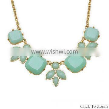 """18"""" + 3"""" Gold Tone Fashion Necklace with Sea Green Leaf Design"""