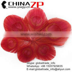 Gold Supplier ZPDECOR Bulk Sale Top Quality Dyed Red Trimmed Peacock Feathers Eyes for Decoration