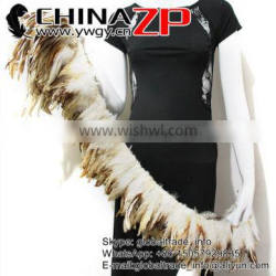 CHINAZP Fashion Plume Chicken Plumage Wholesale Cheap Beige Half Bronze Rooster Schlappen Feathers Strung