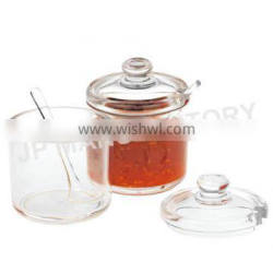 Wholesale Crystal clear 320ml Acrylic chili sauce pot with Spoon 8207