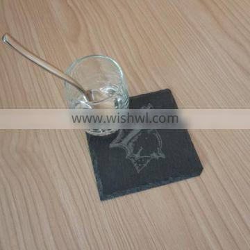 natural lazed black slate coaster with sea shell designs