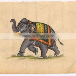 Elephant Miniature Painting Ethnic Wall Decor Wall Hanging Portrait Water Color Paper Painting