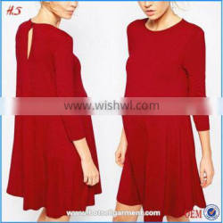 Global Hot Sale Pregnant Women Dresses Maternity Seamed Swing Dress With 3/4 Sleeve Maternity Clothing