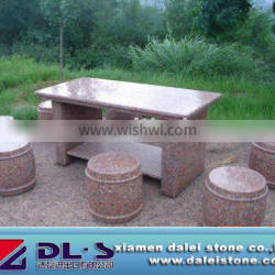 red granite table and chair